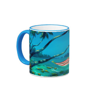 Rob Kaz Mug, Lunch On The Line, colored handle Ringer Mug