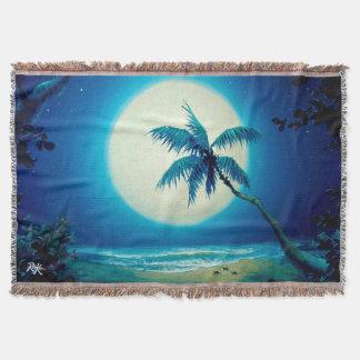 Rob Kaz Throw Blanket, Moonlight Palm