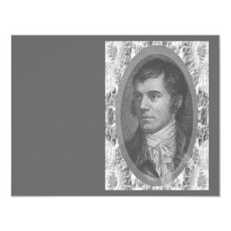 Robbie Burns Portrait (Grey) 11 Cm X 14 Cm Invitation Card