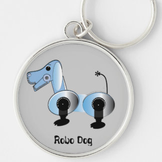 Robbie Steampunk Dog Silver-Colored Round Key Ring