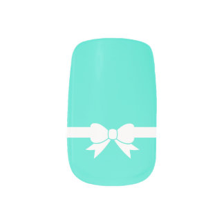 Robbin's Egg White Ribbon Bow Blue Nail Art
