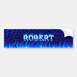 Robert blue fire and flames bumper sticker design.