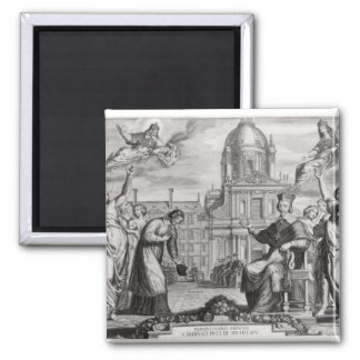 Robert de Sorbon  and Cardinal Richelieu Square Magnet