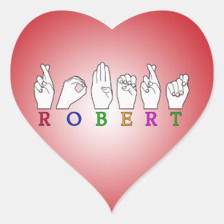ROBERT FINGERSPELLED ASL SIGN HEART STICKERS