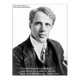 "Robert Frost ""Road Traveled"" Quote On Cards & Gift Postcard"
