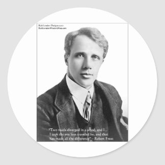 """Robert Frost """"Road Traveled"""" Quote On Cards & Gift Round Sticker"""