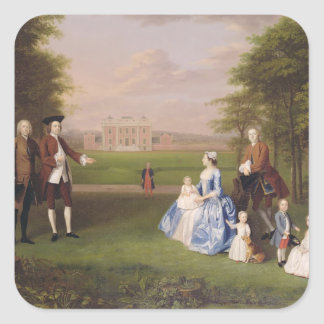 Robert Gwillym of Atherton and his Family, c.1745- Square Stickers