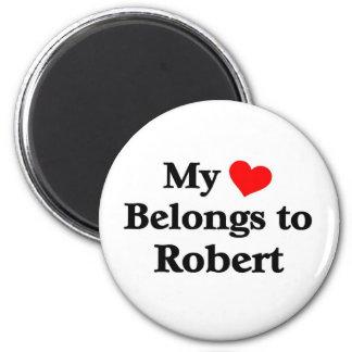 Robert has my heart 6 cm round magnet