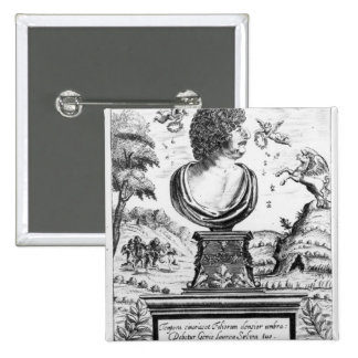 Robert Herrick , engraved by the artist 15 Cm Square Badge