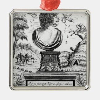 Robert Herrick , engraved by the artist Silver-Colored Square Decoration