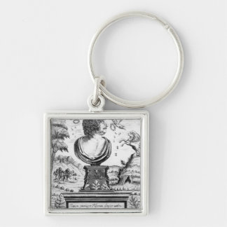 Robert Herrick , engraved by the artist Silver-Colored Square Key Ring