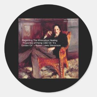 Robert Louis Stevenson & Quote CBD is Golden Oil Round Sticker