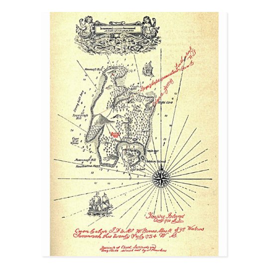 Robert Louis Stevenson's Treasure Island Map Postcard