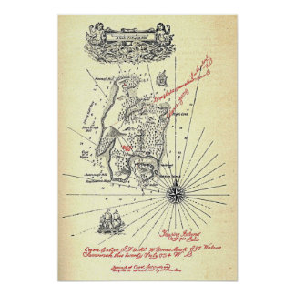 Robert Louis Stevenson's Treasure Island Map Poster
