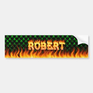 Robert real fire and flames bumper sticker design.