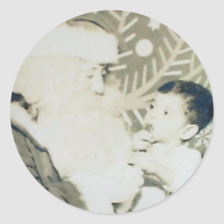 robert & santa classic round sticker
