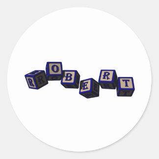 Robert toy blocks in blue sticker