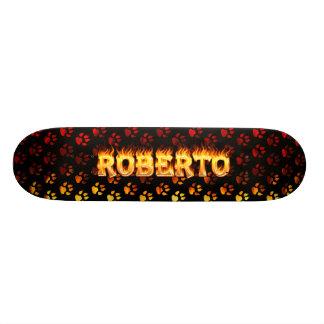 Roberto skateboard fire and flames design.