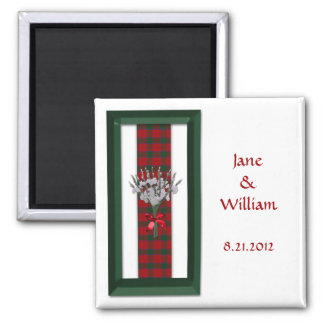 Roberts / Robertson Tartan Thistle Wedding Favor Magnet