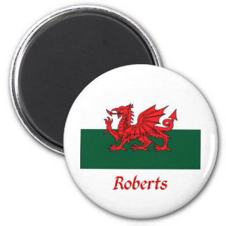 Roberts Welsh Flag 6 Cm Round Magnet