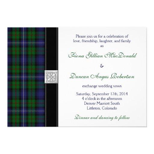 Robertson Hunting Tartan Celtic Wedding Invitation