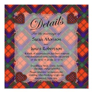 "Robertson Scottish clan tartan - Plaid 5.25"" Square Invitation Card"