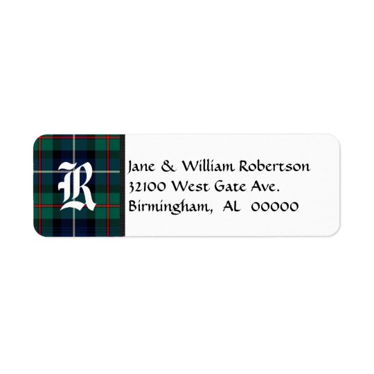 Robertson Tartan Plaid Monogram Address Labels