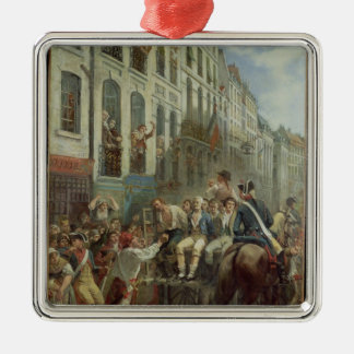 Robespierre  and Saint-Just Silver-Colored Square Decoration