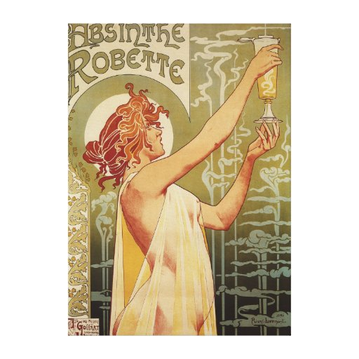Robette Absinthe Advertisement Poster Stretched Canvas Print