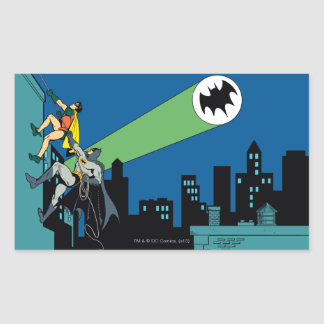 Robin And Batman Climb Rectangular Sticker