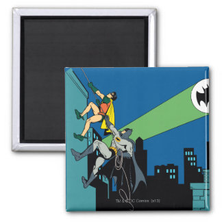 Robin And Batman Climb Square Magnet