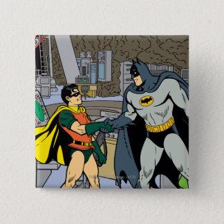 Robin And Batman Handshake 15 Cm Square Badge