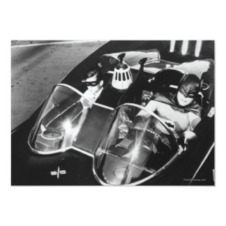 Robin and Batman in Batmobile 13 Cm X 18 Cm Invitation Card