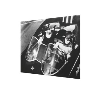 Robin and Batman in Batmobile Canvas Print