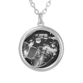 Robin and Batman in Batmobile Silver Plated Necklace