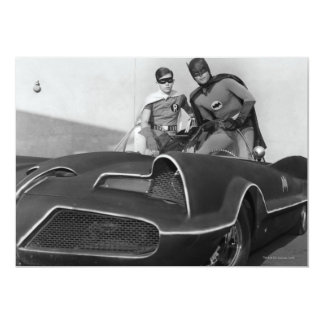 Robin and Batman Standing in Batmobile 13 Cm X 18 Cm Invitation Card