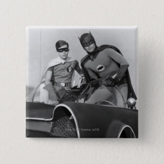 Robin and Batman Standing in Batmobile 15 Cm Square Badge