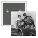 Robin and Batman Standing in Batmobile 15 Cm Square Badge