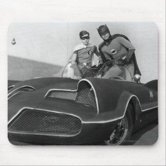 Robin and Batman Standing in Batmobile Mouse Mat