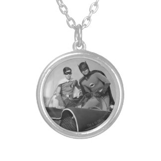 Robin and Batman Standing in Batmobile Silver Plated Necklace