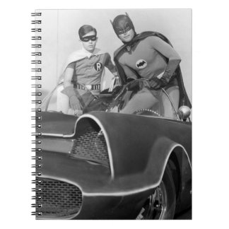 Robin and Batman Standing in Batmobile Spiral Notebook