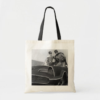 Robin and Batman Standing in Batmobile Tote Bag