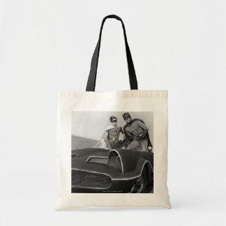 Robin and Batman Standing in Batmobile Tote Bag