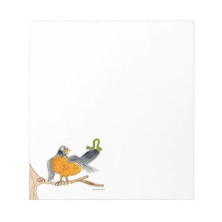 Robin and inch worm on tree. notepad