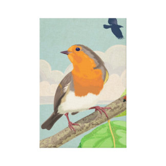 Robin and Ladybird Canvas Print