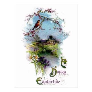 Robin and Spring Flowers Vintage Easter Postcard