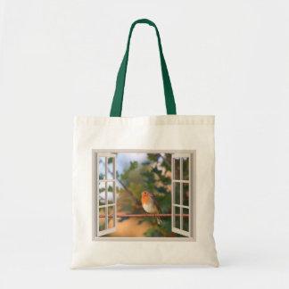 Robin Bird at Window Budget Tote Bag