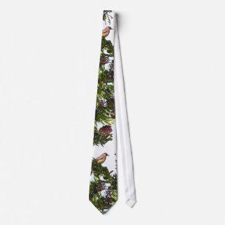 Robin Bird in Berry Tree Tie