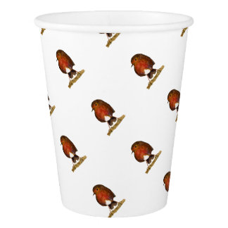 Robin Bird Watercolor Painting Artwork Paper Cup