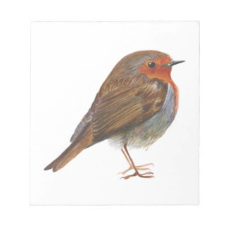 Robin Bird Watercolor Painting Artwork Redbreast Notepad